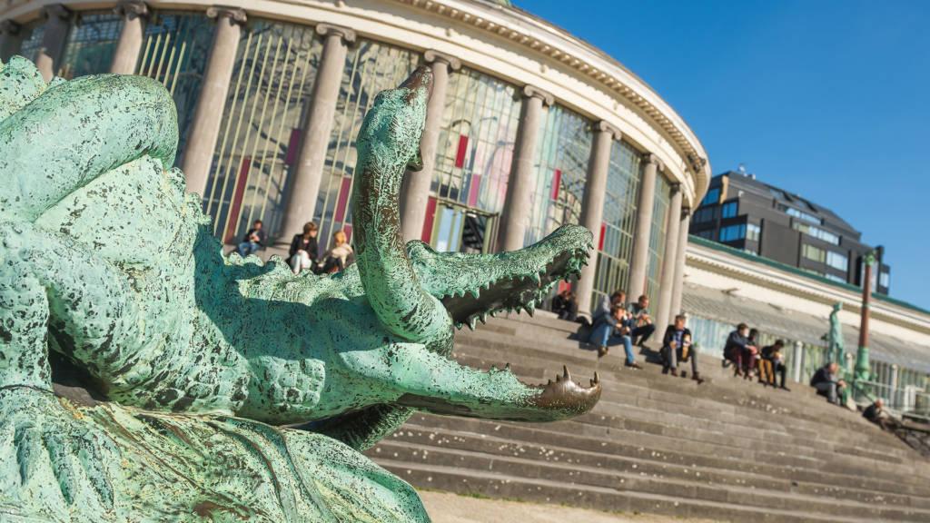 Urban Court - View of Le Botanique's crocodile statue